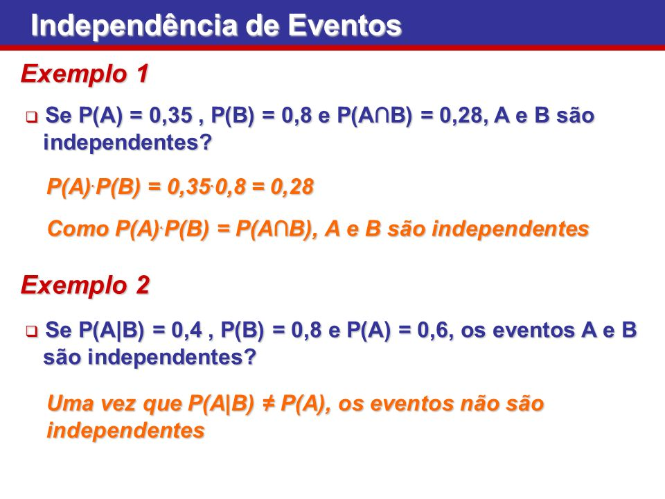 Se P(A) = 0,35, P(B) = 0,8 e P(AB) = 0,28, A e B são Se P(A) = 0,35, P(B) = 0,8 e P(AB) = 0,28, A e B são independentes? independentes? Independência