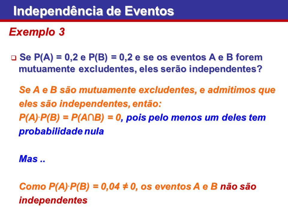 Se P(A) = 0,2 e P(B) = 0,2 e se os eventos A e B forem Se P(A) = 0,2 e P(B) = 0,2 e se os eventos A e B forem mutuamente excludentes, eles serão indep