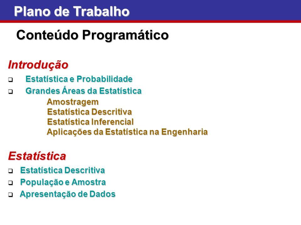 Plano de Trabalho Conteúdo Programático Introdução Estatística e Probabilidade Estatística e Probabilidade Grandes Áreas da Estatística Grandes Áreas