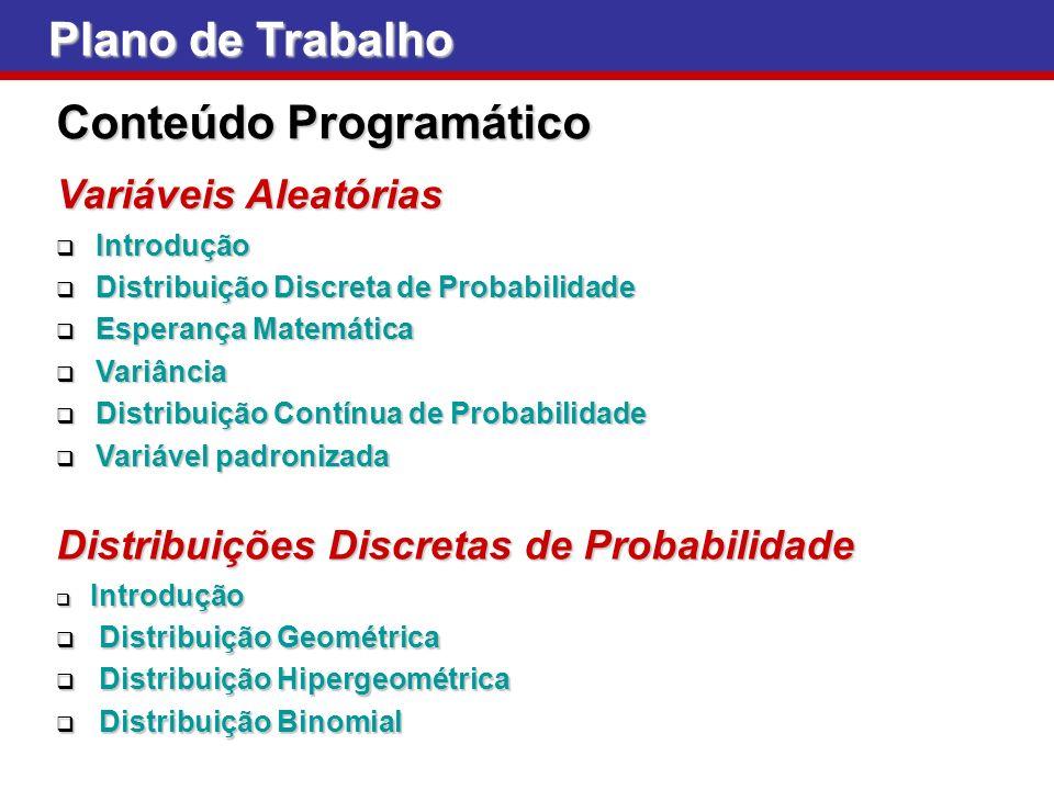 Plano de Trabalho Conteúdo Programático Variáveis Aleatórias Introdução Introdução Distribuição Discreta de Probabilidade Distribuição Discreta de Pro