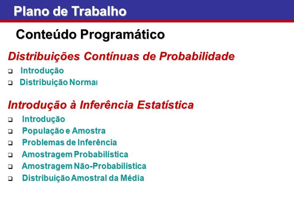 Plano de Trabalho Conteúdo Programático Distribuições Contínuas de Probabilidade Introdução Introdução Distribuição Norma l Distribuição Norma l Intro