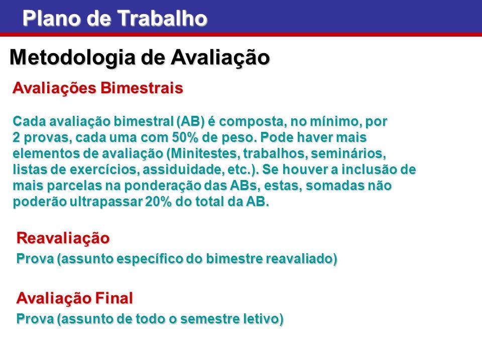 Plano de Trabalho Metodologia de Avaliação Avaliações Bimestrais Cada avaliação bimestral (AB) é composta, no mínimo, por 2 provas, cada uma com 50% d