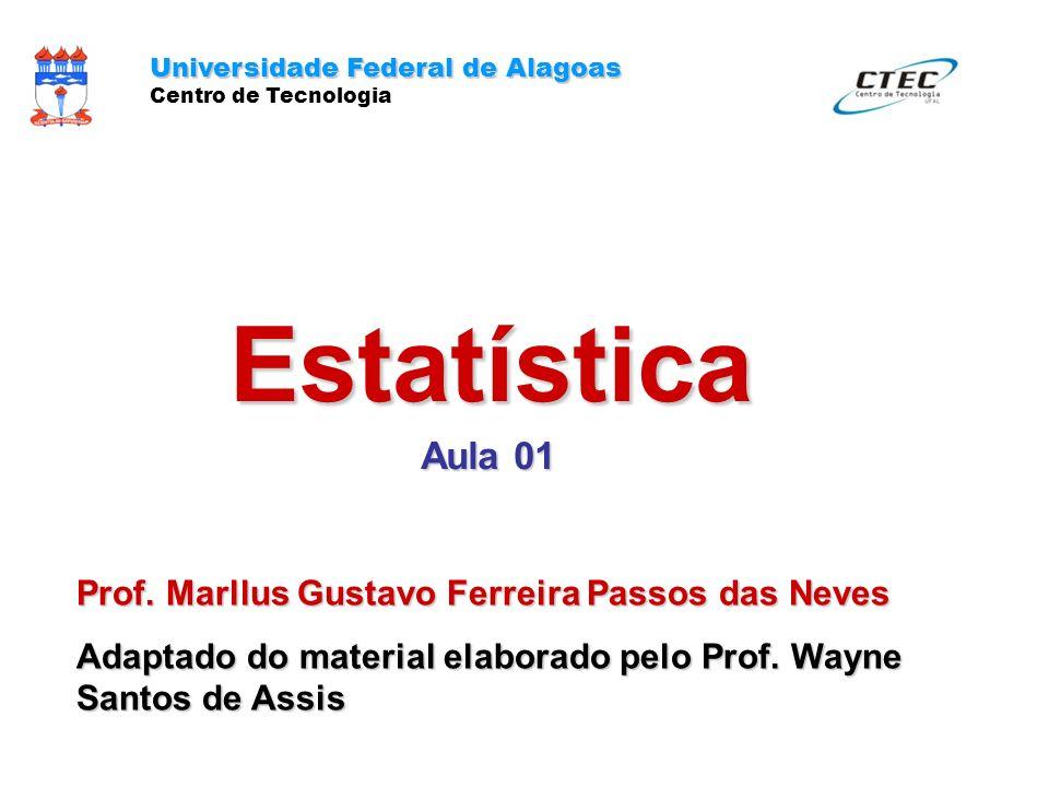 Estatística Aula 01 Prof. Marllus Gustavo Ferreira Passos das Neves Adaptado do material elaborado pelo Prof. Wayne Santos de Assis Universidade Feder