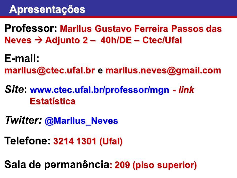 Apresentações Professor: Marllus Gustavo Ferreira Passos das Neves Adjunto 2 – 40h/DE – Ctec/Ufal E-mail: marllus@ctec.ufal.br e marllus.neves@gmail.c