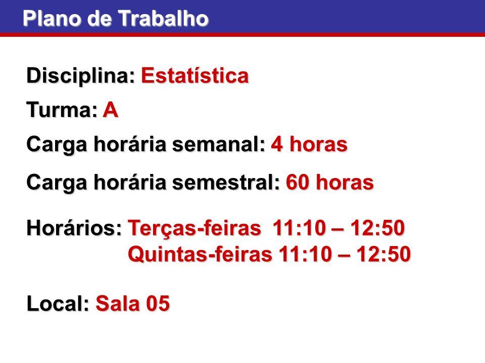 Plano de Trabalho Disciplina: Estatística Carga horária semanal: 4 horas Carga horária semestral: 60 horas Horários: Terças-feiras 11:10 – 12:50 Quint
