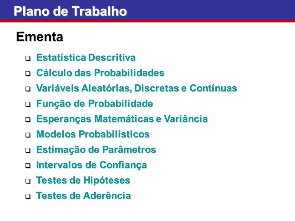 Plano de Trabalho Ementa Estatística Descritiva Estatística Descritiva Cálculo das Probabilidades Cálculo das Probabilidades Variáveis Aleatórias, Dis
