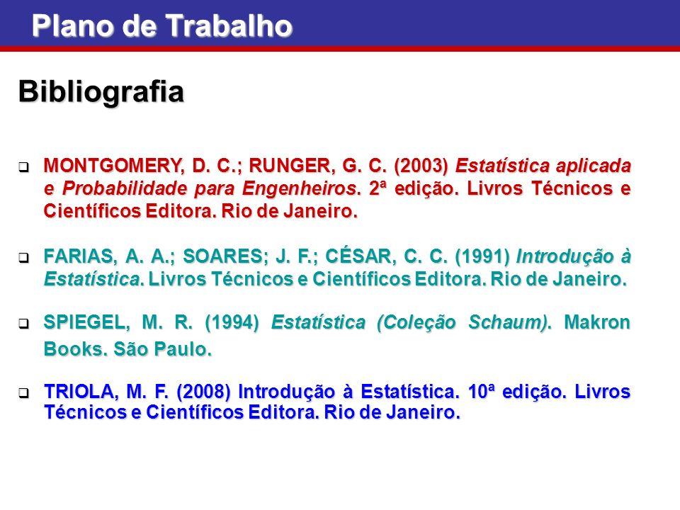 Plano de Trabalho Bibliografia MONTGOMERY, D. C.; RUNGER, G. C. (2003) Estatística aplicada e Probabilidade para Engenheiros. 2ª edição. Livros Técnic