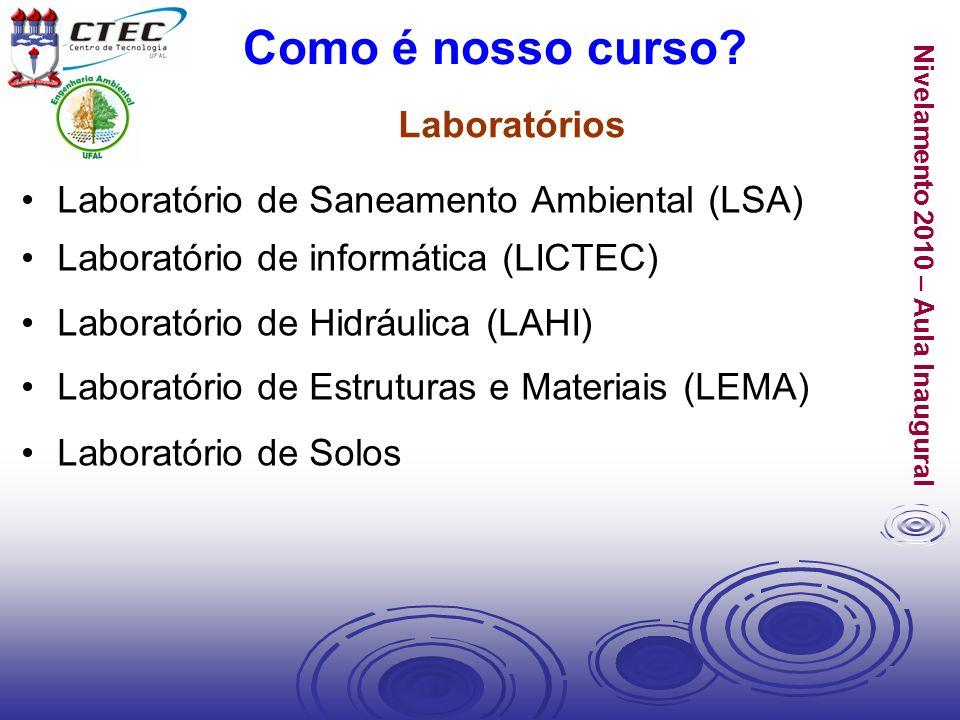 Nivelamento 2010 – Aula Inaugural Laboratório de Saneamento Ambiental (LSA) Laboratório de informática (LICTEC) Laboratório de Hidráulica (LAHI) Labor