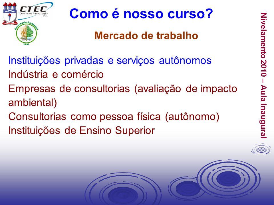 Nivelamento 2010 – Aula Inaugural Instituições privadas e serviços autônomos Indústria e comércio Empresas de consultorias (avaliação de impacto ambie