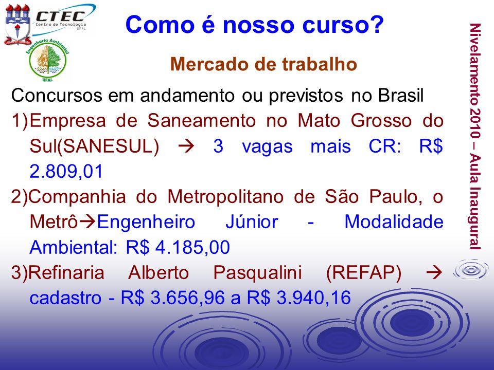Nivelamento 2010 – Aula Inaugural Mercado de trabalho Como é nosso curso? Concursos em andamento ou previstos no Brasil 1)Empresa de Saneamento no Mat