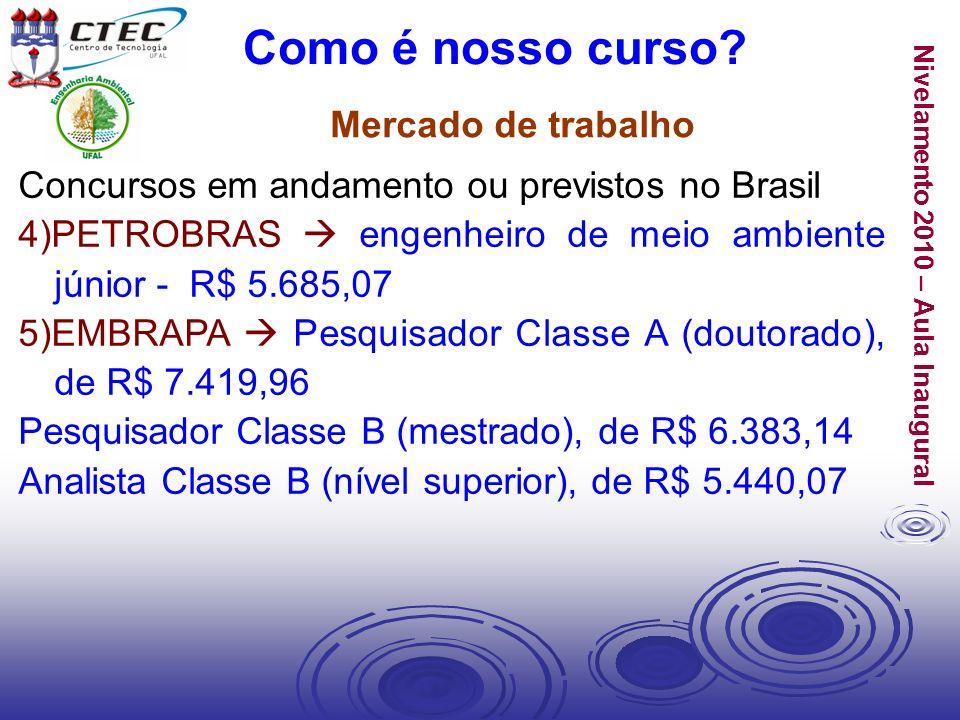 Nivelamento 2010 – Aula Inaugural Mercado de trabalho Como é nosso curso? Concursos em andamento ou previstos no Brasil 4)PETROBRAS engenheiro de meio