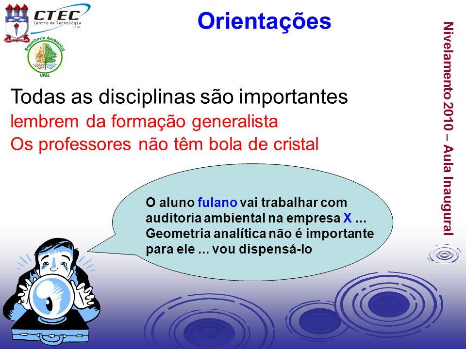 Nivelamento 2010 – Aula Inaugural Todas as disciplinas são importantes lembrem da formação generalista Os professores não têm bola de cristal Orientaç