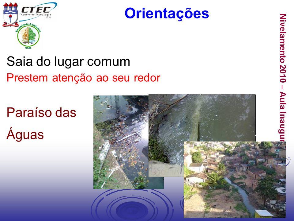 Nivelamento 2010 – Aula Inaugural Orientações Saia do lugar comum Prestem atenção ao seu redor Paraíso das Águas