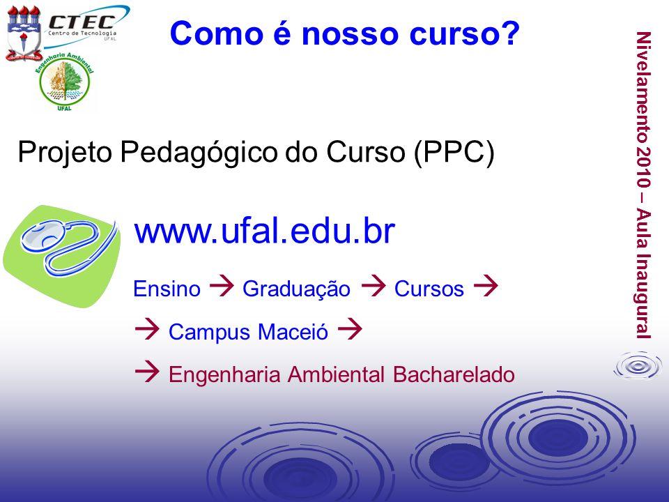 Nivelamento 2010 – Aula Inaugural Ensino Graduação Cursos Campus Maceió Engenharia Ambiental Bacharelado www.ufal.edu.br Como é nosso curso? Projeto P