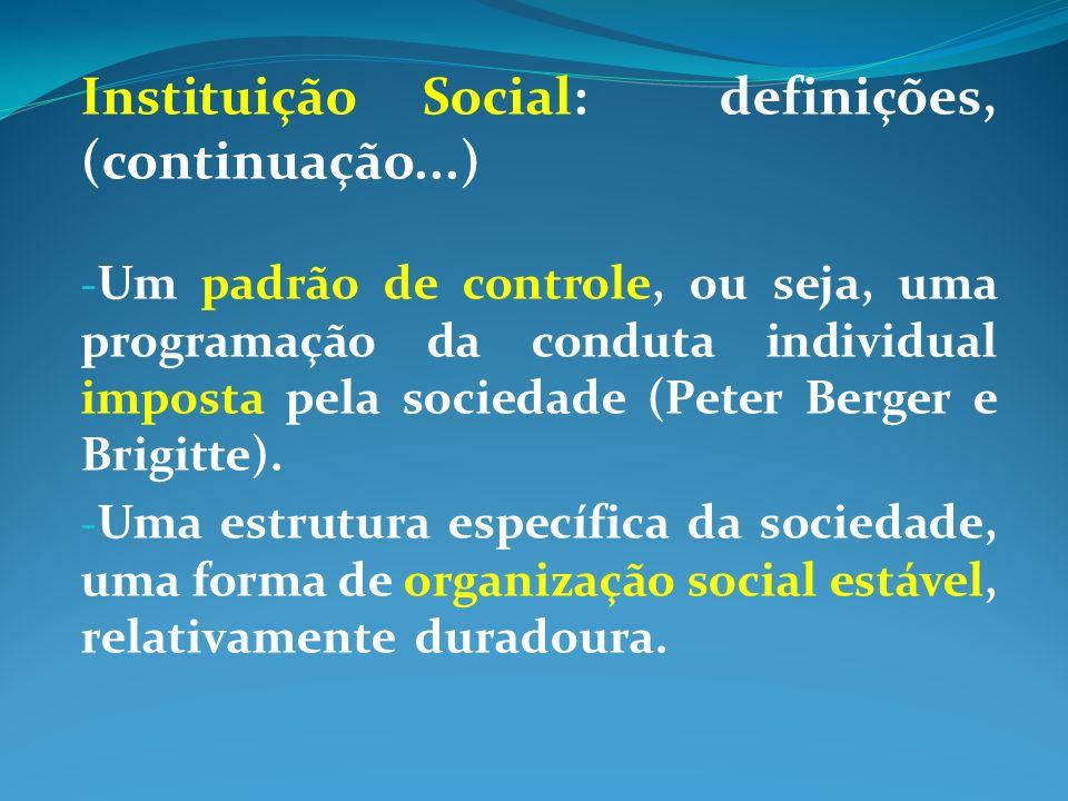 Instituição Social: definições, (continuação...) - Um padrão de controle, ou seja, uma programação da conduta individual imposta pela sociedade (Peter