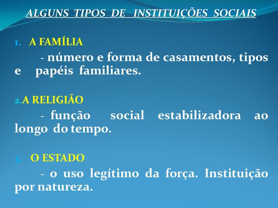ALGUNS TIPOS DE INSTITUIÇÕES SOCIAIS 1. A FAMÍLIA - número e forma de casamentos, tipos e papéis familiares. 2. A RELIGIÃO - função social estabilizad