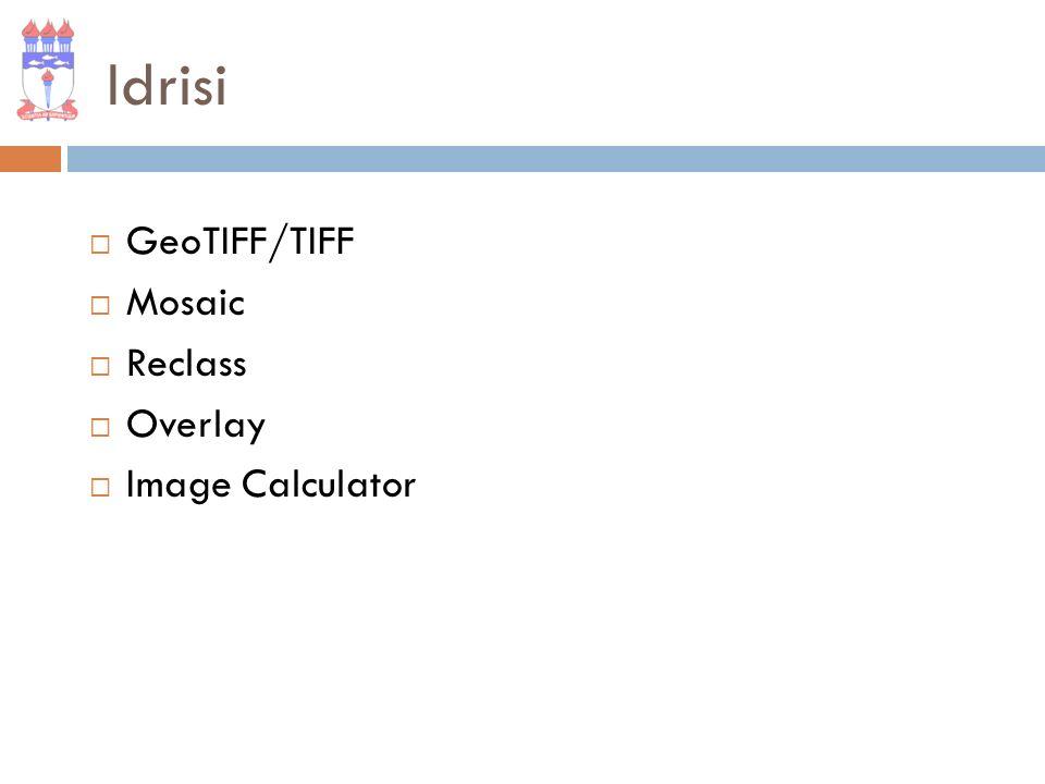 GeoTIFF/TIFF Utilizado para importar ou exportar arquivos GeoTIFF/TIFF.