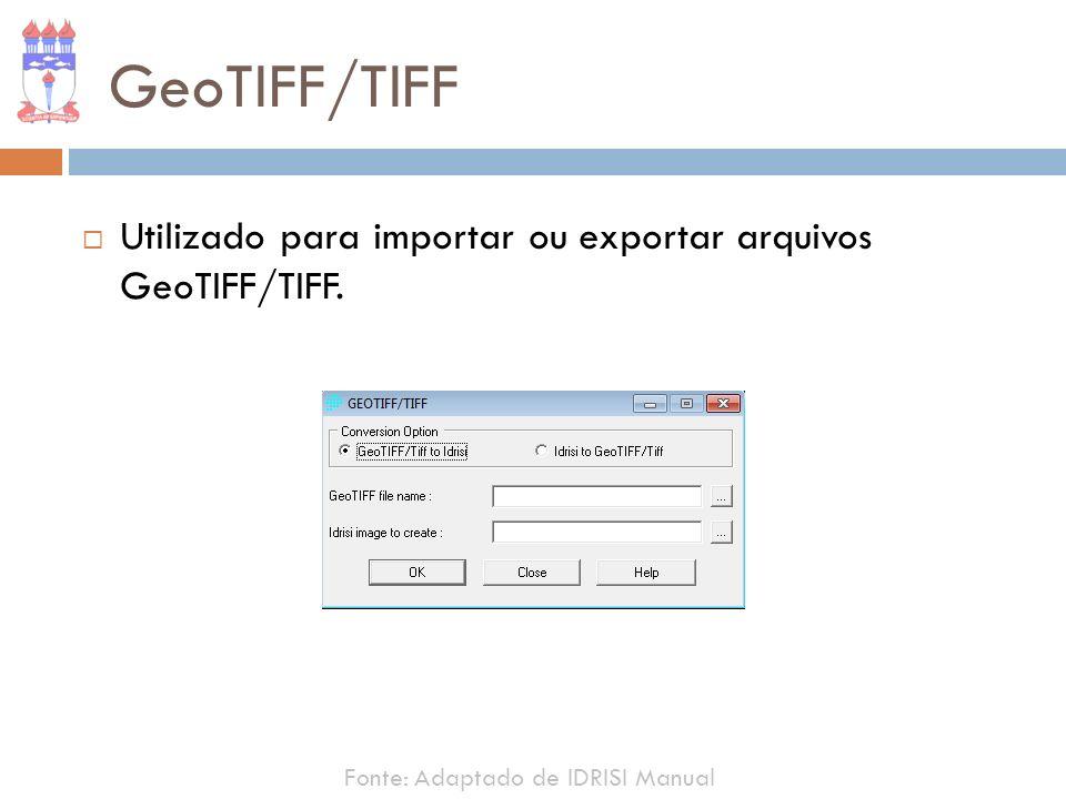 GeoTIFF/TIFF Utilizado para importar ou exportar arquivos GeoTIFF/TIFF. Fonte: Adaptado de IDRISI Manual