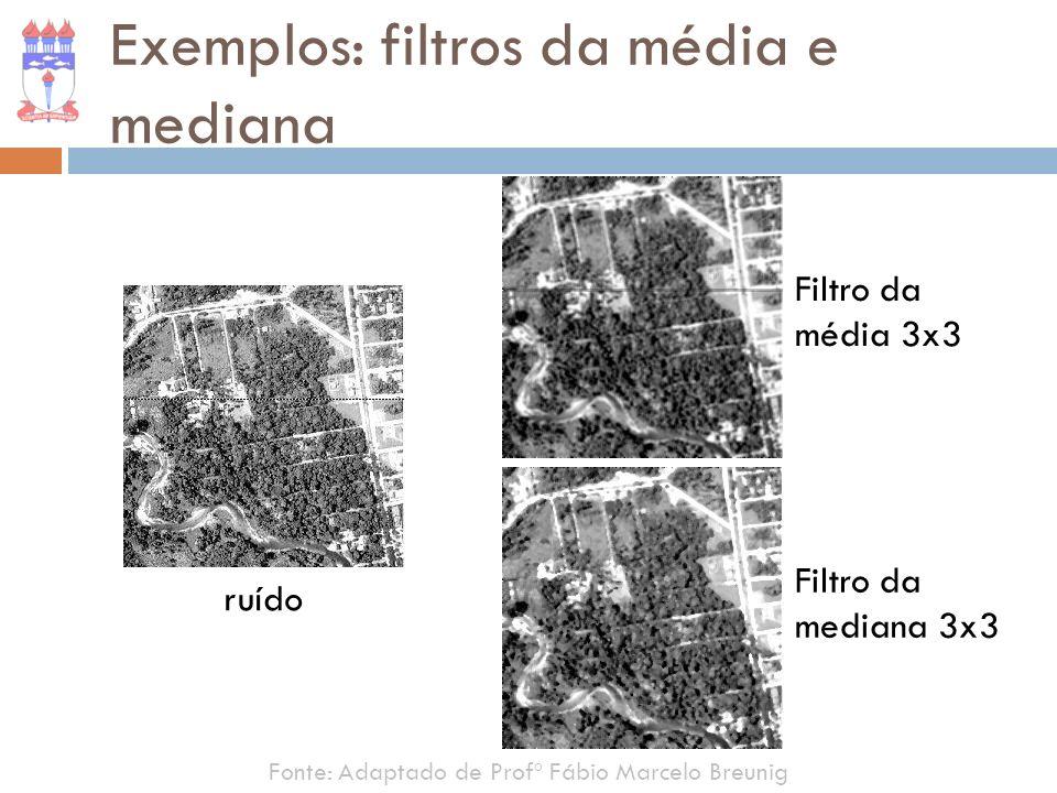 Exemplos: filtros da média e mediana Fonte: Adaptado de Profº Fábio Marcelo Breunig ruído Filtro da média 3x3 Filtro da mediana 3x3