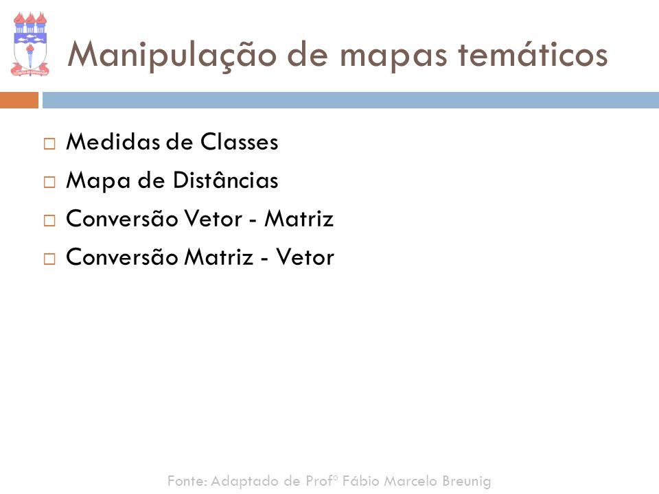 Manipulação de mapas temáticos Medidas de Classes Mapa de Distâncias Conversão Vetor - Matriz Conversão Matriz - Vetor Fonte: Adaptado de Profº Fábio