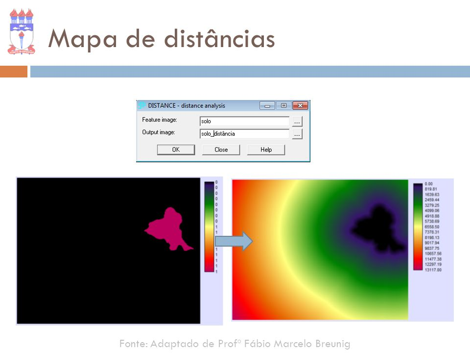 Mapa de distâncias Fonte: Adaptado de Profº Fábio Marcelo Breunig