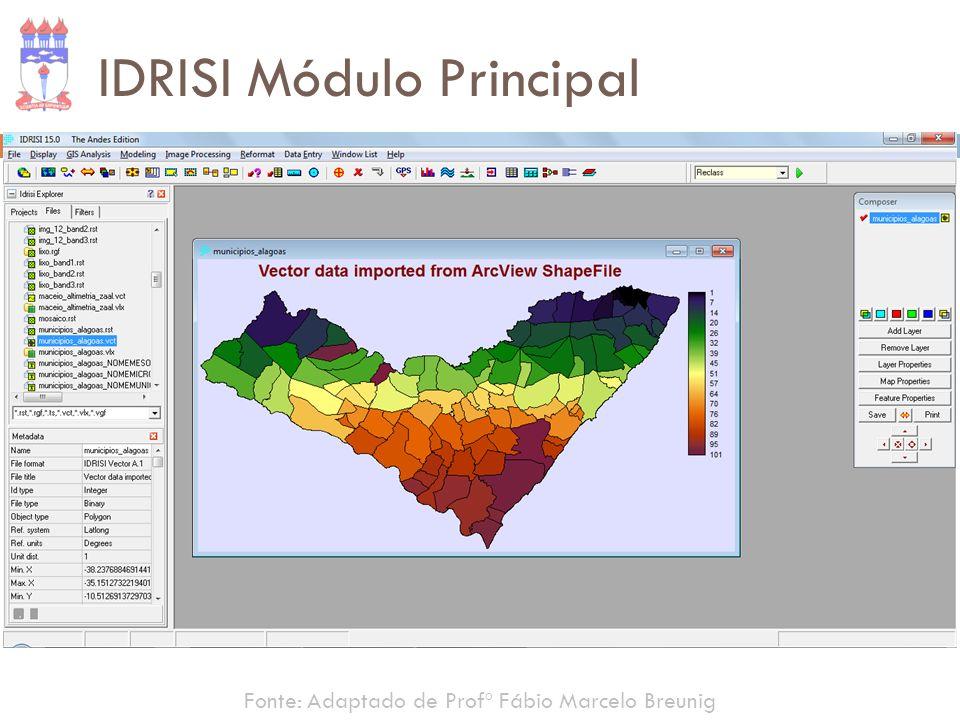 IDRISI Módulo Principal Fonte: Adaptado de Profº Fábio Marcelo Breunig
