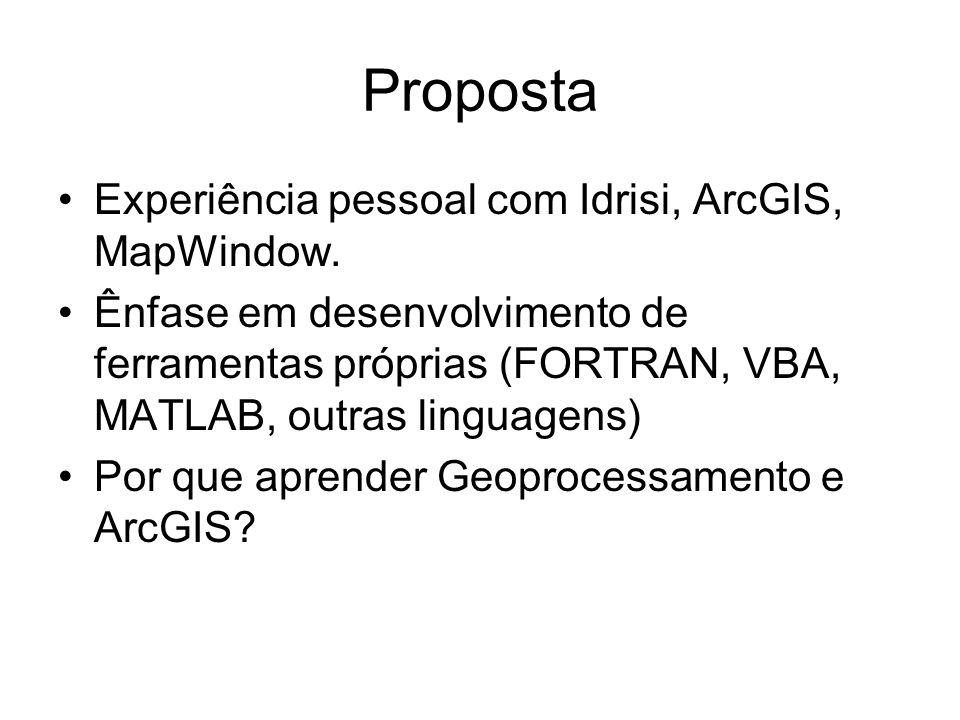 Proposta Experiência pessoal com Idrisi, ArcGIS, MapWindow. Ênfase em desenvolvimento de ferramentas próprias (FORTRAN, VBA, MATLAB, outras linguagens