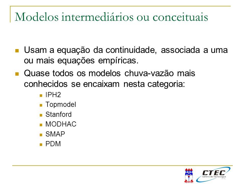 Modelos intermediários ou conceituais Usam a equação da continuidade, associada a uma ou mais equações empíricas. Quase todos os modelos chuva-vazão m