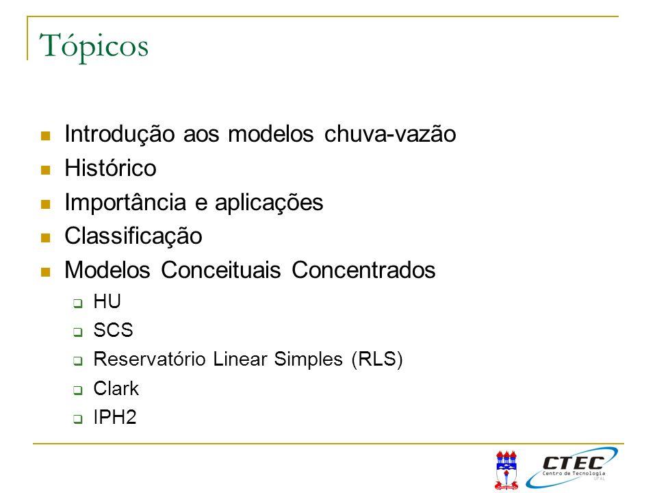 Tópicos Introdução aos modelos chuva-vazão Histórico Importância e aplicações Classificação Modelos Conceituais Concentrados HU SCS Reservatório Linea