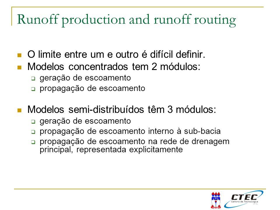 Runoff production and runoff routing O limite entre um e outro é difícil definir. Modelos concentrados tem 2 módulos: geração de escoamento propagação