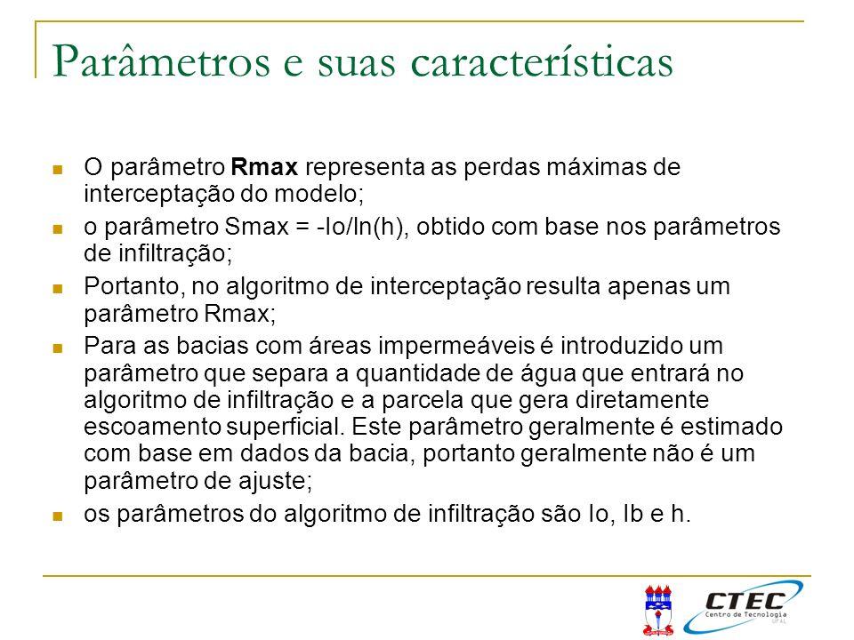 Parâmetros e suas características O parâmetro Rmax representa as perdas máximas de interceptação do modelo; o parâmetro Smax = -Io/ln(h), obtido com b