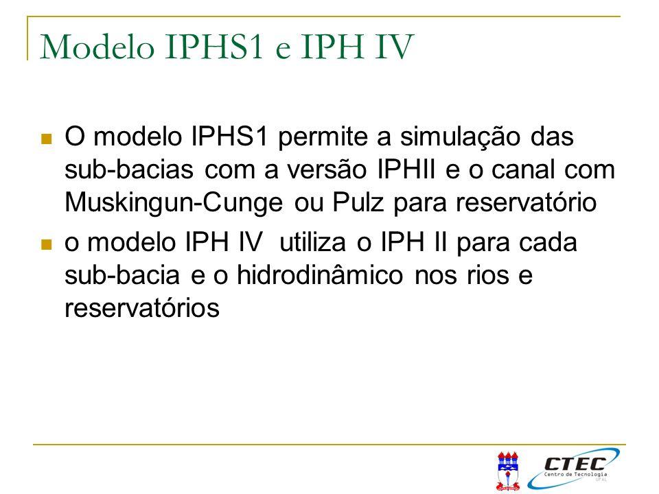 Modelo IPHS1 e IPH IV O modelo IPHS1 permite a simulação das sub-bacias com a versão IPHII e o canal com Muskingun-Cunge ou Pulz para reservatório o m