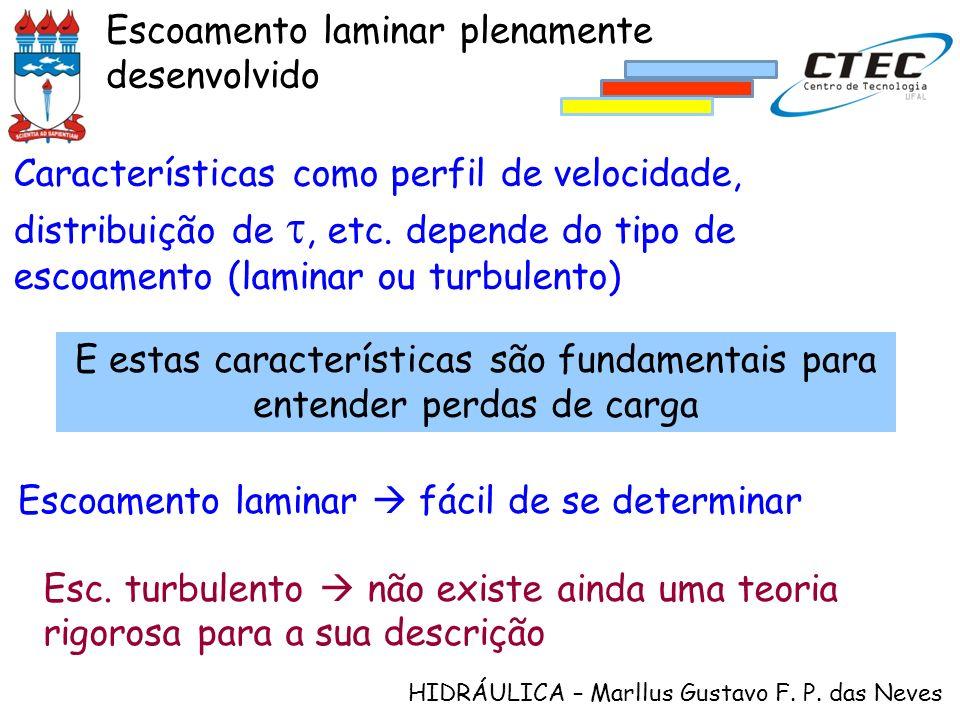 HIDRÁULICA – Marllus Gustavo F. P. das Neves Escoamento laminar plenamente desenvolvido Características como perfil de velocidade, distribuição de, et