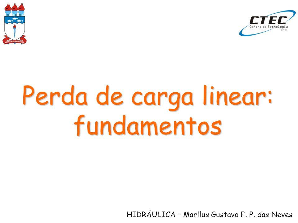 HIDRÁULICA – Marllus Gustavo F. P. das Neves Perda de carga linear: fundamentos