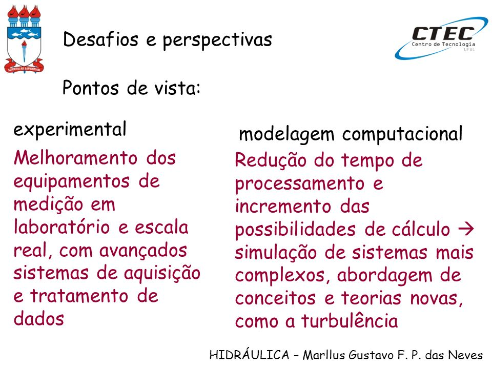HIDRÁULICA – Marllus Gustavo F. P. das Neves Desafios e perspectivas Pontos de vista: Melhoramento dos equipamentos de medição em laboratório e escala