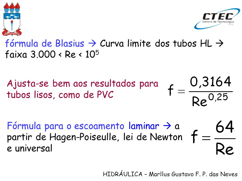 HIDRÁULICA – Marllus Gustavo F. P. das Neves fórmula de Blasius Curva limite dos tubos HL faixa 3.000 < Re < 10 5 Ajusta-se bem aos resultados para tu