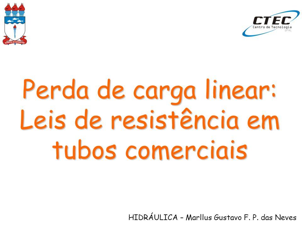HIDRÁULICA – Marllus Gustavo F. P. das Neves Perda de carga linear: Leis de resistência em tubos comerciais