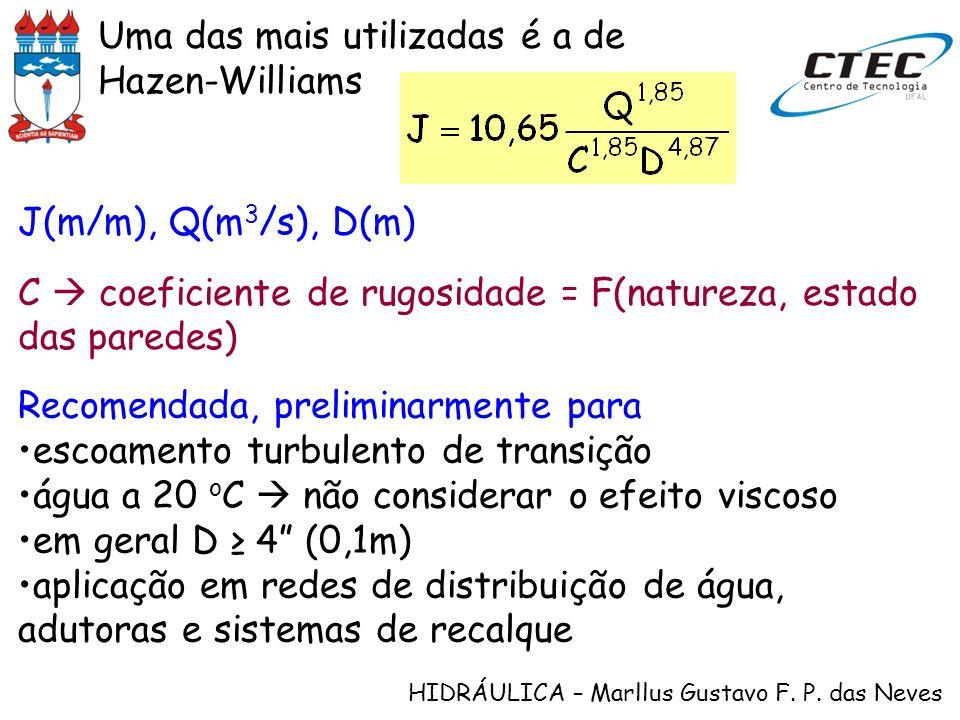 HIDRÁULICA – Marllus Gustavo F. P. das Neves Uma das mais utilizadas é a de Hazen-Williams J(m/m), Q(m 3 /s), D(m) C coeficiente de rugosidade = F(nat