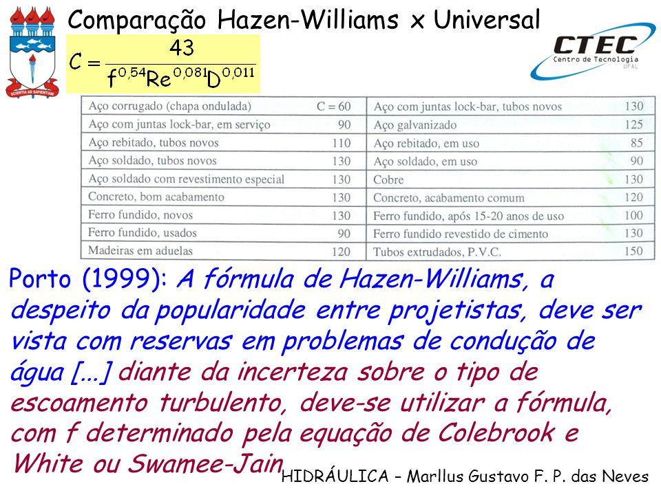 HIDRÁULICA – Marllus Gustavo F. P. das Neves Comparação Hazen-Williams x Universal Porto (1999): A fórmula de Hazen-Williams, a despeito da popularida