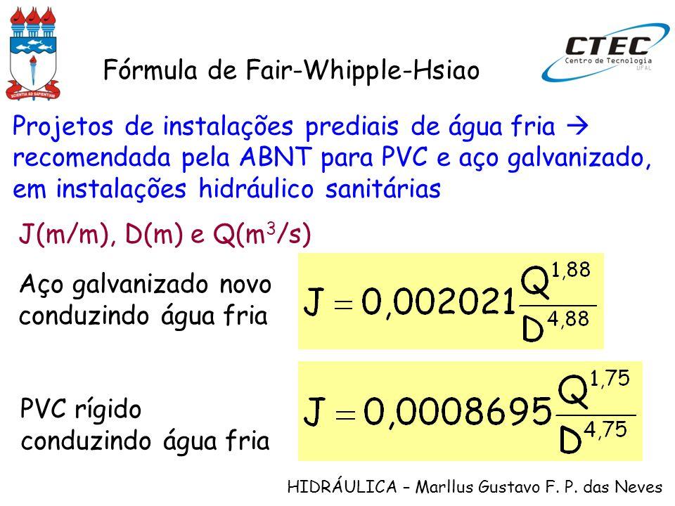 HIDRÁULICA – Marllus Gustavo F. P. das Neves Fórmula de Fair-Whipple-Hsiao Projetos de instalações prediais de água fria recomendada pela ABNT para PV
