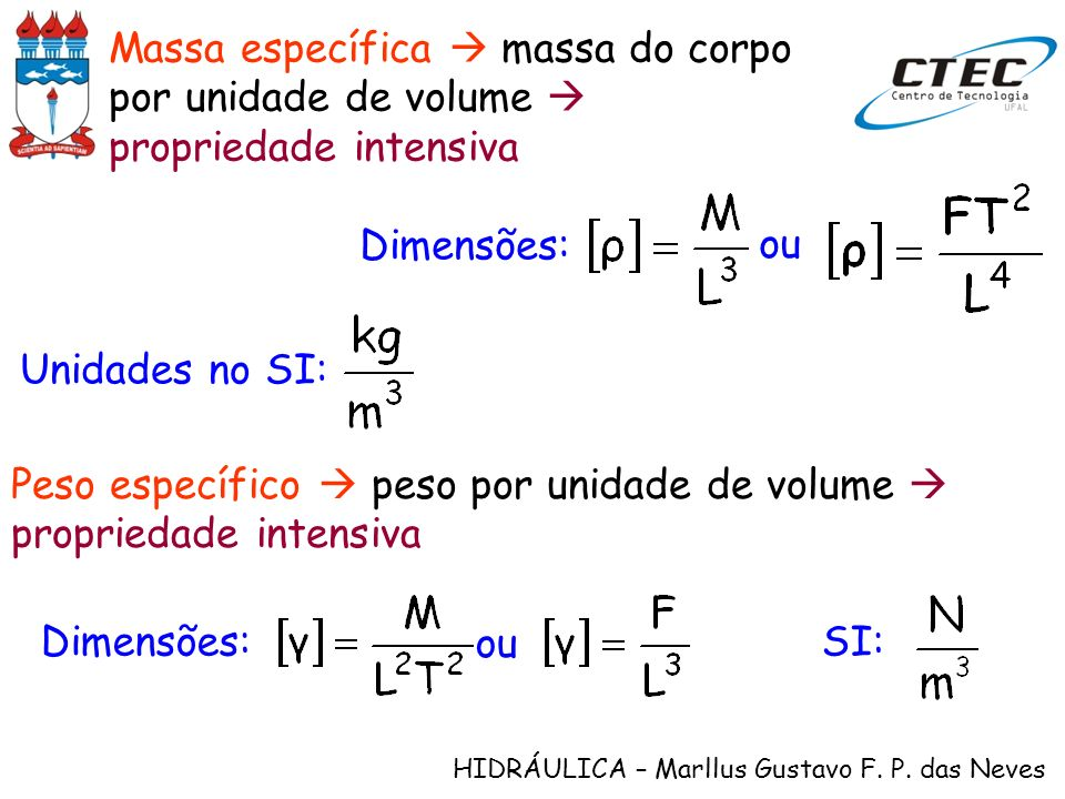 HIDRÁULICA – Marllus Gustavo F. P. das Neves Massa específica massa do corpo por unidade de volume propriedade intensiva Dimensões: ou Unidades no SI: