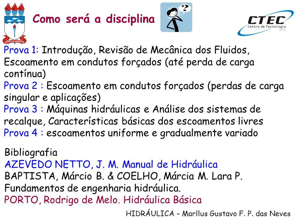 HIDRÁULICA – Marllus Gustavo F. P. das Neves Prova 1: Introdução, Revisão de Mecânica dos Fluidos, Escoamento em condutos forçados (até perda de carga