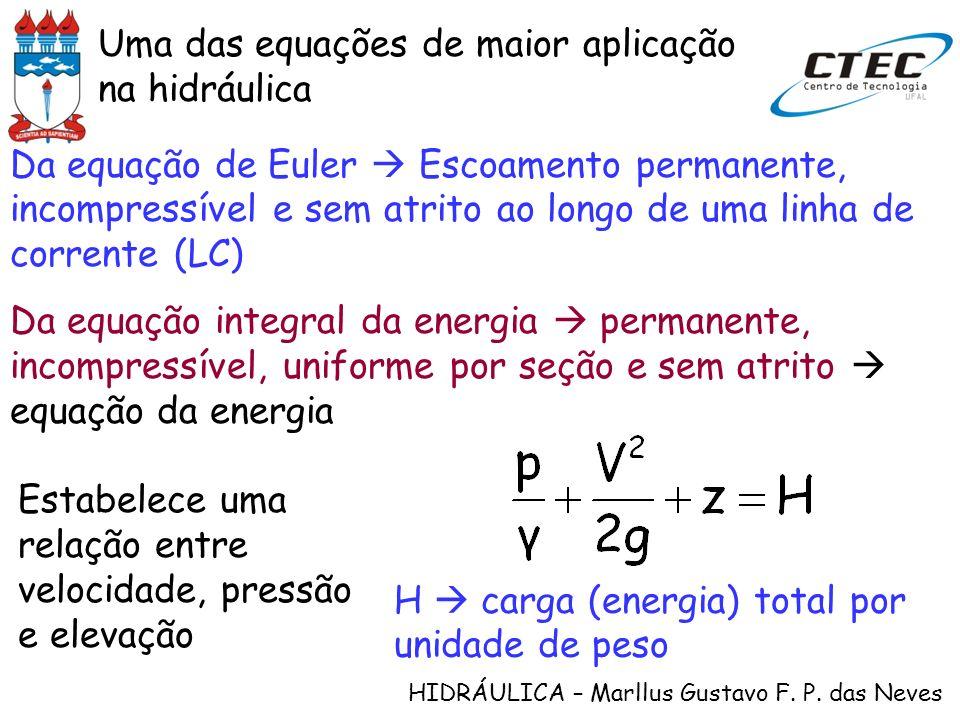 HIDRÁULICA – Marllus Gustavo F. P. das Neves Uma das equações de maior aplicação na hidráulica Da equação de Euler Escoamento permanente, incompressív