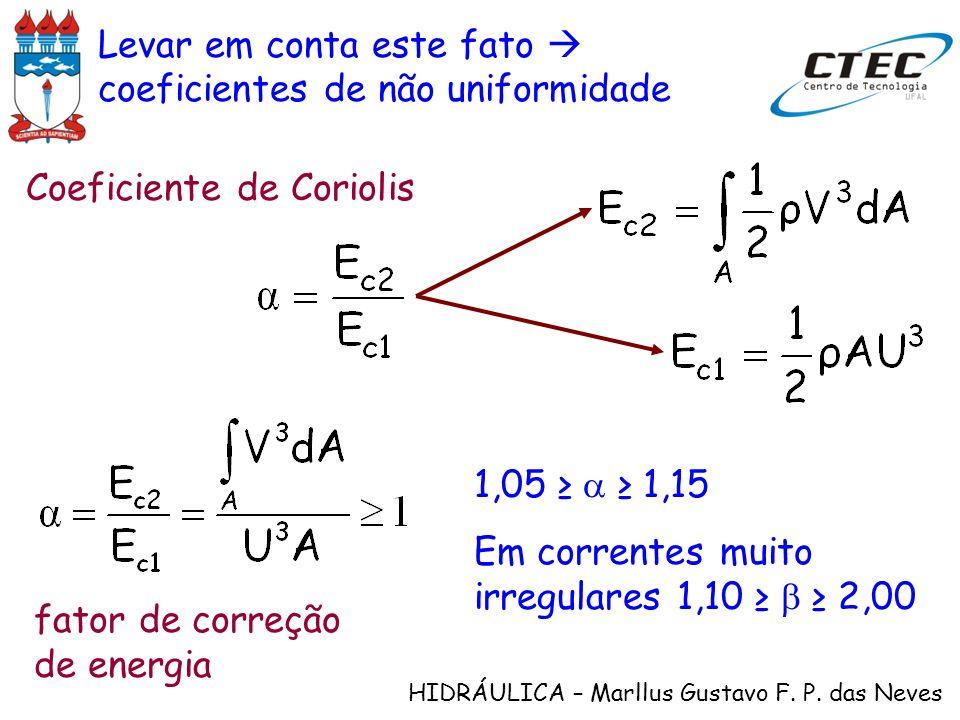 HIDRÁULICA – Marllus Gustavo F. P. das Neves Levar em conta este fato coeficientes de não uniformidade Coeficiente de Coriolis fator de correção de en