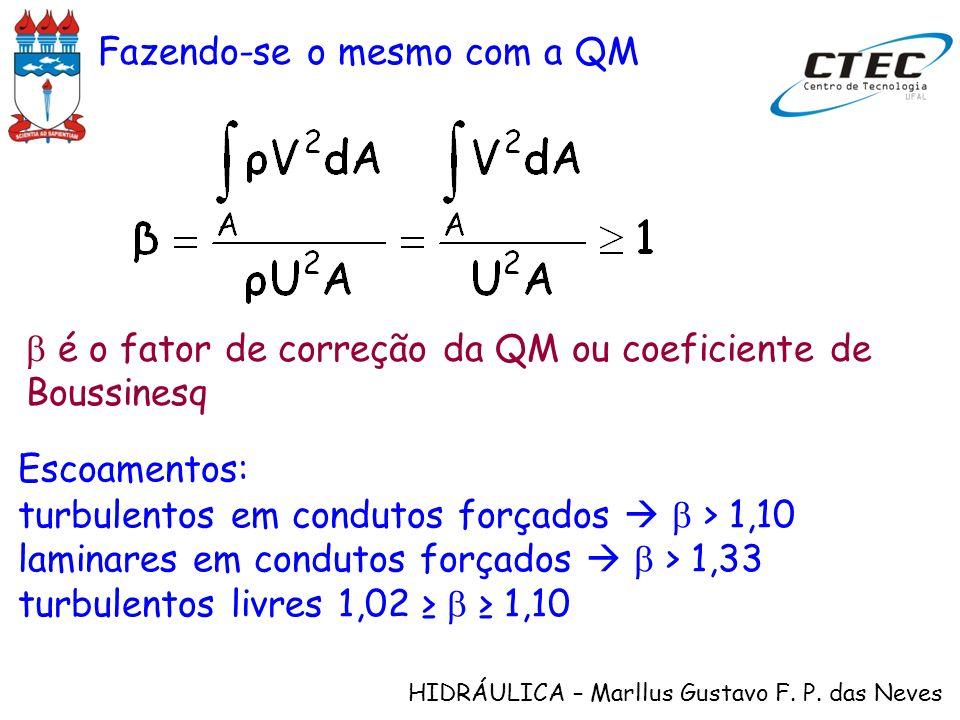 HIDRÁULICA – Marllus Gustavo F. P. das Neves Fazendo-se o mesmo com a QM é o fator de correção da QM ou coeficiente de Boussinesq Escoamentos: turbule
