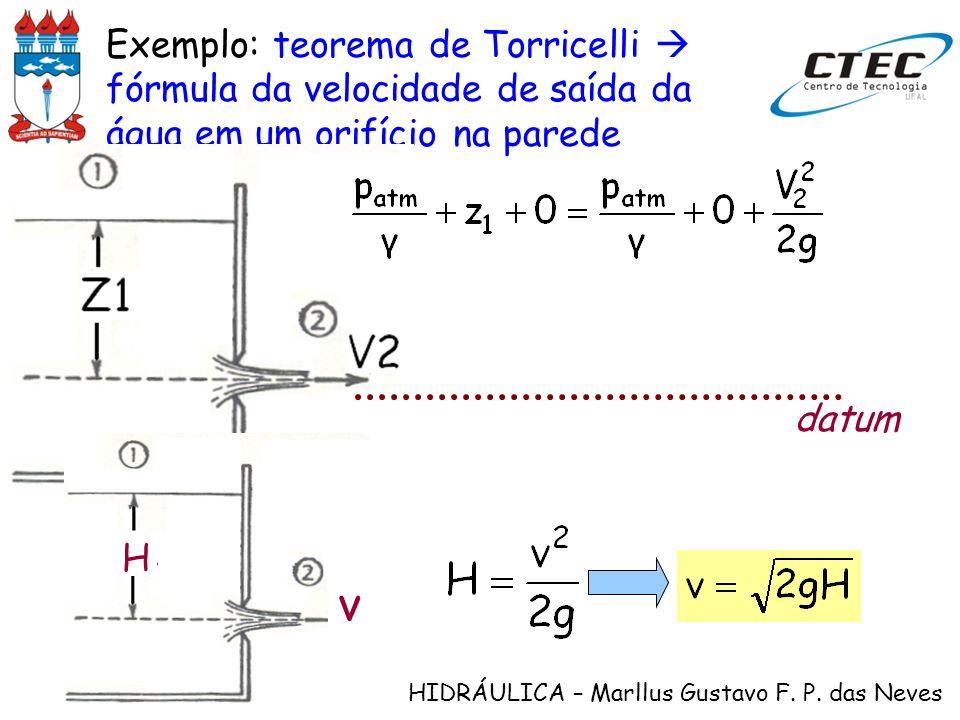 HIDRÁULICA – Marllus Gustavo F. P. das Neves Exemplo: teorema de Torricelli fórmula da velocidade de saída da água em um orifício na parede datum H v