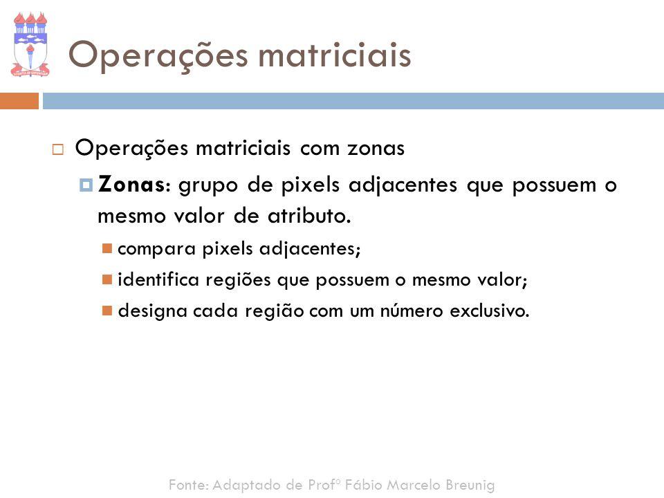 Fonte: Adaptado de Profº Fábio Marcelo Breunig Operações matriciais Operações matriciais com zonas Zonas: grupo de pixels adjacentes que possuem o mes