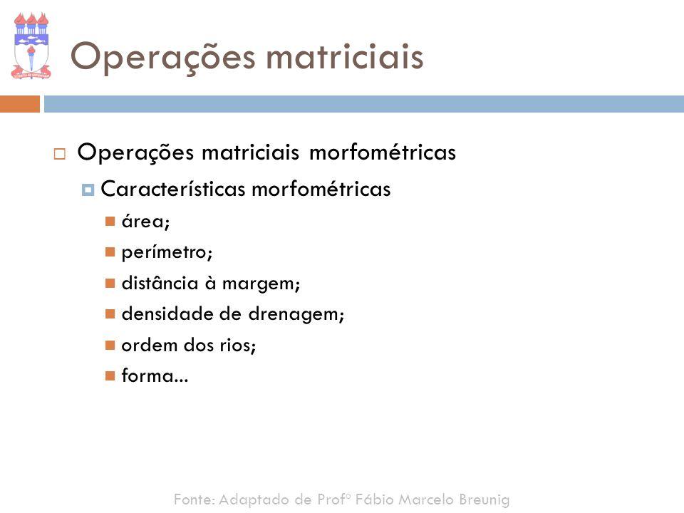 Fonte: Adaptado de Profº Fábio Marcelo Breunig Operações matriciais Operações matriciais morfométricas Características morfométricas área; perímetro;