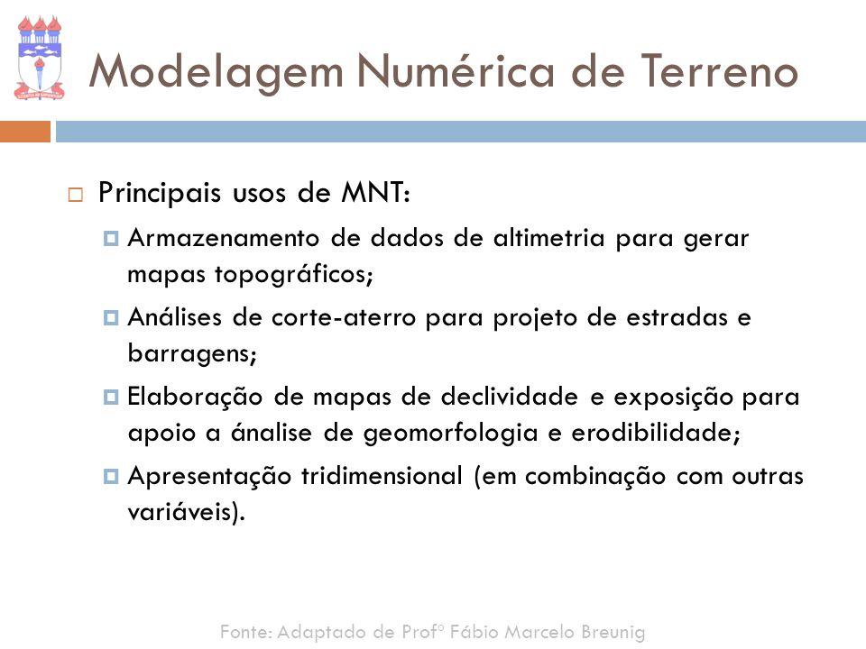 Modelagem Numérica de Terreno Principais usos de MNT: Armazenamento de dados de altimetria para gerar mapas topográficos; Análises de corte-aterro par