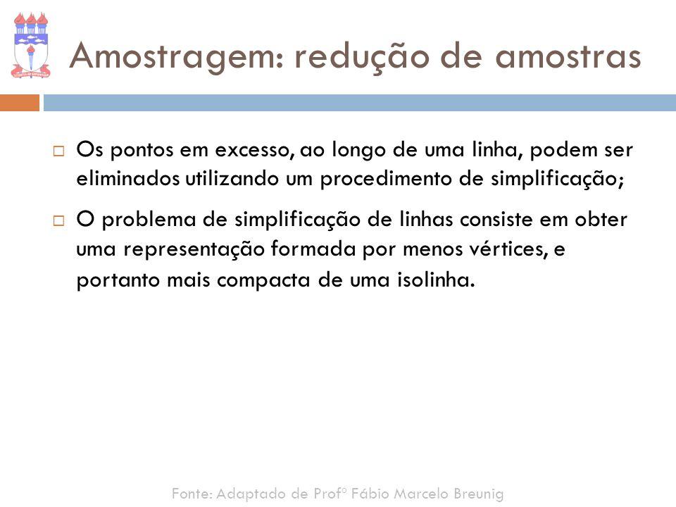 Amostragem: redução de amostras Os pontos em excesso, ao longo de uma linha, podem ser eliminados utilizando um procedimento de simplificação; O probl